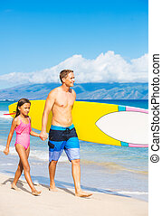 Father and Duagher on the Beach Going Surfing