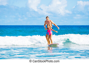 Father and Duaghter Surfing Together - Father and Daughter...
