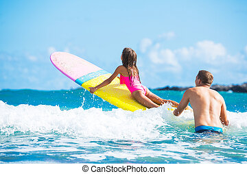 Father and Duaghter Surfing Together