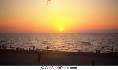 Father and his child flying kite at sunset beach