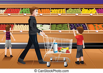 Father and his kids doing grocery shopping