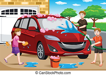 Father and his kids washing car