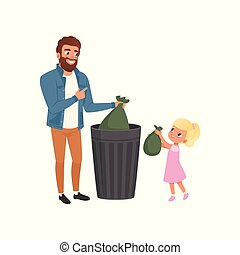 Father and his little daughter throwing garbage into a trash can together vector Illustration on a white background