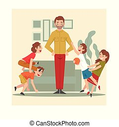 Father and His Mischievous Children, Happy Kids Having Fun at Home, Naughty, Rowdy Children, Bad Child Behavior Vector Illustration