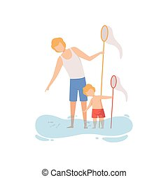 Father and His Son Catching Fish with Fishing Net, Happy Dad and Son Enjoying Summer Vacation on Seashore Vector Illustration