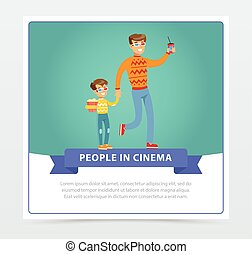Father and his son in 3d glasses with popcorn going to the movie, people in cinema banner flat vector elements for website or mobile app
