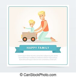 Father and his son playing with toy car, happy family banner flat vector element for website or mobile app