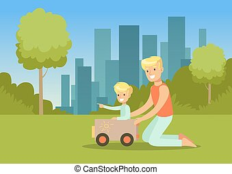 Father and his son playing with toy car in city park outside, family leisure vector illustration
