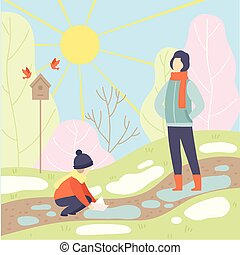Father and His Son Walking in Spring Park, Season Change From Winter to Spring Vector Illustration