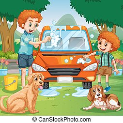 Father and kid washing car in the park