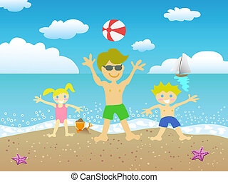 father and kids playing on the beach