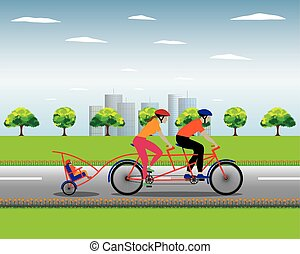 Father and mother biking with son. - Father and mother...