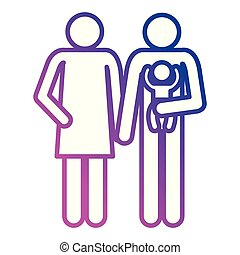 father and mother with baby silhouettes