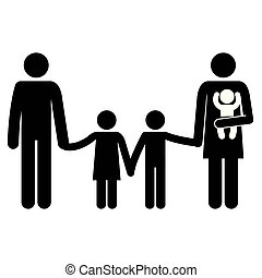 father and mother with kids silhouettes