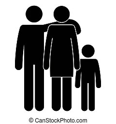 father and mother with son silhouettes