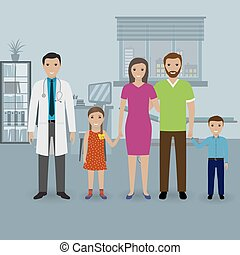 Father and mother with two kids visit doctor's office. Family healthcare concept.