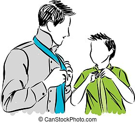father and son adjusting ties illustration