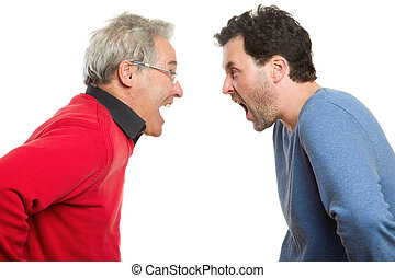 Father and son arguing, screaming