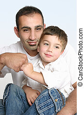 Father and son best mates - Father and son make a friendly...
