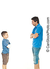 Father and son conversation - Father and son standing face...