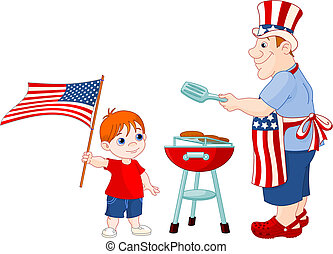 Father and Son cooking A Hamburger