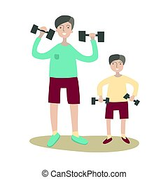 Father and son doing exercise with dumbbells. Family Sports and physical activity with children, joint active recreation. Vector illustration in flat style, isolated on white.
