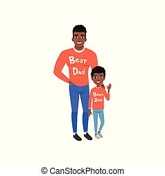 Father and son dressed in red shirts with the inscription Best dad and Best son, loving dad and kid spending time together vector Illustration on a white background