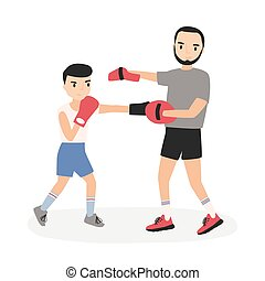 Father and son dressed in sportswear practicing punches at boxing training. Parent and child performing sports activity. Cartoon characters isolated on white background. Flat vector illustration.