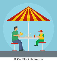 Father and son eat pizza background, flat style