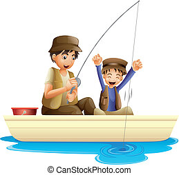 father and son - illustration of father and son fishing on a...