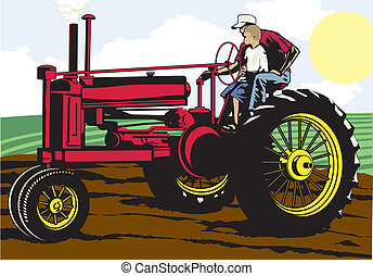 Father and Son Farming - A father and his son riding a...