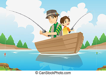 Father and son fishing - A vector illustration of a father...
