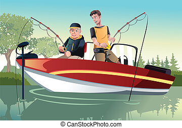 Father and son fishing - A vector illustration of a senior...