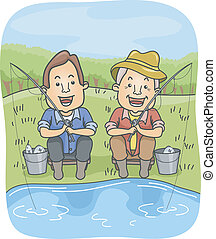 Father and Son Fishing - Illustration of a Father and Son...