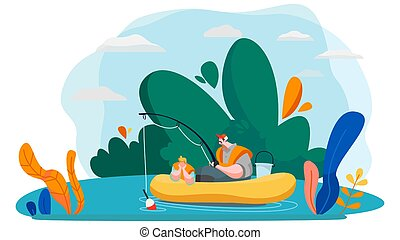 Father and son fishing in lake, vector illustration