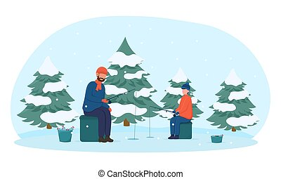 Father and son fishing in winter