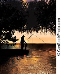 Father and son fishing on lake concept or grandfather and ...