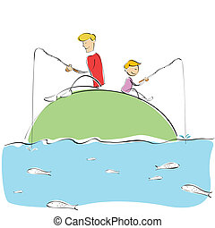 father and son fishing - illustration of father and son...