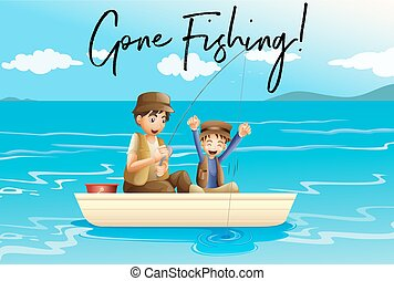 Father and son fishing with words gone fishing