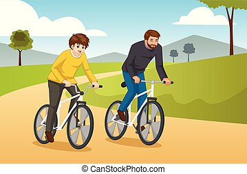 Father and Son Going Biking Outdoors Illustration