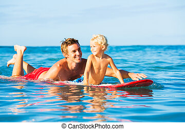 Father and Son Going Surfing - Happy Father and Young Son...