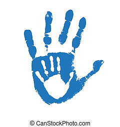 Father and son handprints over white background, vector...