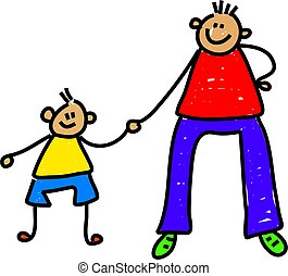 happy little boy holding his fathers hand - toddler art series