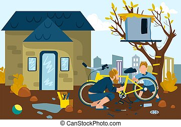 Father and son happy together vector illustration. Dad and boy repairing bicycle near home cottage outdoors in summer. Childhood.