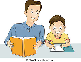 Illustration of a Father Helping His Answer His Homework