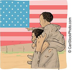 father and son immigrant in front of the USA flag