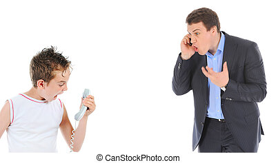 Father and son is arguing while talking over the telephone