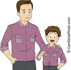 Father and Son Matching Clothes - Illustration of a Father...