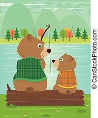 Father and Son Moment - Father bear and his son are fishing...