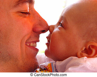 father and son - nose to nose in touch